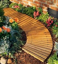 Curved Garden Pathway Portable Roll Out Cedar Wood Walkway Planks Weather Lawn