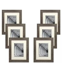 STUDIO 500 6-PACK~8x10-in Distressed Grey Picture Frames w/5x7 OFF-WHITE MATS