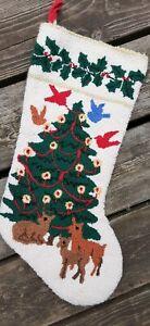 "Latch Hooked Yarn Rug Christmas sequin Stocking Needlepoint 20"" DEER Tree birds"