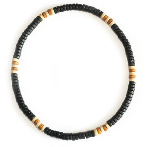 Natural Wooden Bead Surf Necklace Tribal Mens Womens Beach on Elastic Cord