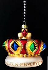 "Mary Engelbreit Queen Of Everything Blown Glass Crown Ornament Kurt Adler 4"" Nib"