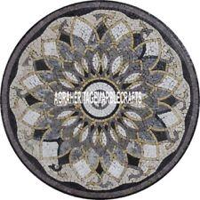 Black Marble Dining Top Table Mosaic Inlay Pietradura Stone Hallway Decor H3904