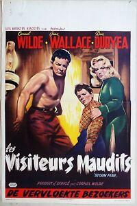 Storm Fear 1956 Cornel Wilde Jean Wallace, Dan Duryea Original Belgian Poster