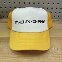 Yellow & White MONDAY Logo Classic Trucker Style SnapBack Cap EUC Mesh Back Hat