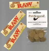 "3X RAW ORGANIC KING SIZE SLIM Rolling papers & 100+ (3/4"") BRASS PIPE SCREENS"