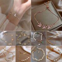 Fashion Crystal Zircon Flower Butterfly Bracelet Adjustable Bangle Women Jewelry