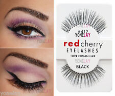 Lot 10 Pairs RED CHERRY #412 False Eyelashes Human Hair Lash Fake Eye Lashes