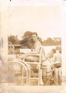 G62/ Vintage Snapshot Photograph Photo Shirtless Boys Pool 1943 Bathing Suit 1