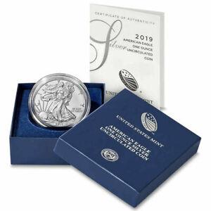 2019 W Burnished $1 Silver 1 oz Uncirculated American Eagle OGP & COA N/R!!