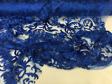 Metatron fabrics Wild fire design mesh lace fabric royal blue. Sold by the yard