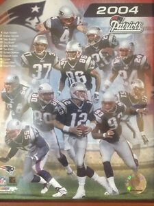New England Patriots 2004 NFL PhotoFile Tom Brady & Team Roster In Action Photo