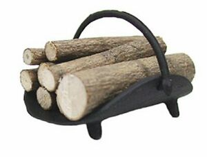 Miniature Dollhouse Black Metal Log Holder With Logs Heavy Duty 1:12 Scale New