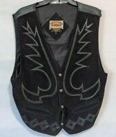 Paragraff Clothing Co Leather Vest Large Biker Western Rockabilly