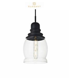 "Elegant Lighting LD2238BK Kenna Single Light 6"" Wide Mini Pendant w/ Clear Glass"