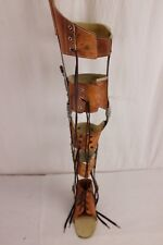 Vintage Leather and Metal Polio Full Leg Brace Steampunk w/ Leather Shoes Adjust