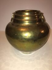 "Vintage Hammered Brass Urn Pot W/ Ring Handles Shelf Decor Vase 8"" Tall, 8"" Wide"