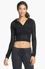 NEW Solow Women's High Low Crop Activewear Hoodie in Black #2