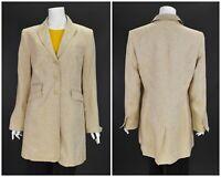 Womens White Label Rofa 100% Linen Long Blazer Jacket Coat Beige D42 / UK16