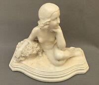Ancienne statuette en platre femme nue BREZ 44 art déco French antique