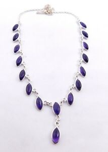 10.30 Gm Fine 925 Solid Sterling Silver Necklace Natural Amethyst Cab M-16