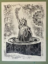 Shepard Fairey - Sinking Statue of Liberty - Damaged Art Show 18x24 Obey