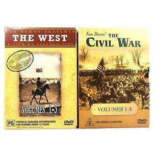 Ken Burns The Civil War + The West DVD Bundle Documentary Box Set R4 GC