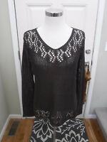 BCBG MAX AZRIA BROWN KNIT SCOOP NECK BEADED SWEATER L MINT!