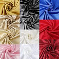 SILKY SATIN FABRIC per METRE Plain Dress & Craft Material 150cm Wide 11 colours