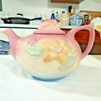 """HULL ART POTTERY PINK MAGNOLIA 6"""" TEAPOT WITH LID # 23"""
