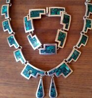VINTAGE TAXCO  TV-38  MEXICAN STERLING SILVER 925 SET NECKLACE BRACELET EARRINGS
