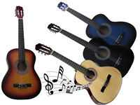 """3/4 SIZE 36"""" ACOUSTIC GUITAR FOR STUDENTS ADULT BEGINNERS 6 NYLON STRINGS MUSIC"""