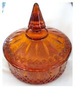 Vintage Indiana Glass Amber Princess Pattern Nut Candy Dish with Lid USA c1970s