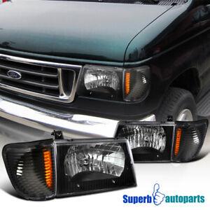 For 1992-2006 E150 E250 E350 E450 E550 Econoline Van Headlight+Corner Park Lamps