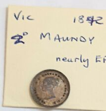 More details for 1842 victoria yh maundy silver 2d twopence coin silver in nef with toning m8422d