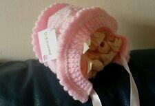 NEW Hand knitted  baby girl bonnet, newborn / 0-3 months