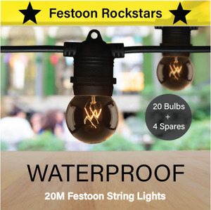 20m Black Festoon String Lighting | Outdoor Party Patio | Warm White | Christmas