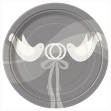 "8 x 7"" Silver Wedding Paper Plates Doves Anniversary Party Tableware Supplies"