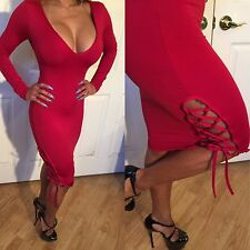 Connie's Long Sleeved Deep Plunge V Neck with Calf lace up Red Midi Dress L