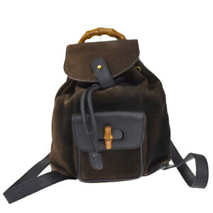 GUCCI Logos Bamboo Mini Backpack Drawstring Bag Suede Leather Gold Black 02ML006