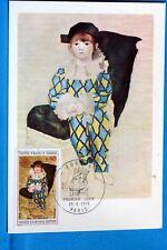 PICASSO PAUL EN COSTUME D ARLEQUIN FRANCEC PA Carte Postale Maximum Yt 1840 C BI