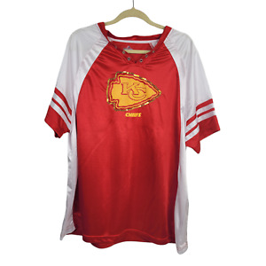 MAJESTIC Kansas City Chiefs Shirt Womans Size 2XL100% Polyester Red Sequin Logo