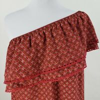 Xhilaration Shift Dress Juniors Sz Large XL One Shoulder Red Floral Print Ruffle