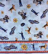 MD02 Police Officer Police Dog Motorcycle Badge Cops Cotton Fabric Quilt Fabric