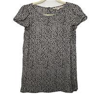 Ann Taylor Loft Womens Short Ruffle Sleeve Blouse Black White Button Back XS