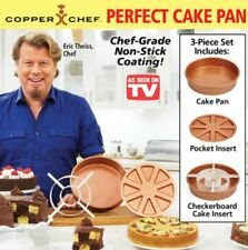 "Copper Chef Round Cake Baking Pan Set 6 PC BOGO(2) 9x9"" + Magic Cutters NEW"