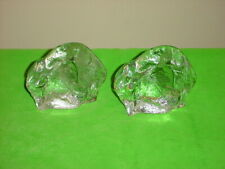 Vintage Viking Glass Clear Crystal Book Ends