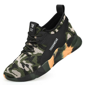 MENS SAFETY TRAINERS WORK LIGHTWEIGHT STEEL TOE CAP BOOTS IN CAMO SHOES 7-12