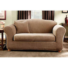 Stretch Stripe 2 piece Sofa Slipcover Box Cushion in Brown