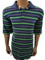 FootJoy FJ Men's Size Large Golf Polo Striped Button Shirt Blue Green