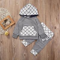 2PCS Newborn Baby Kids Boy Girl Long Sleeve Hooded Tops T-shirt+Pants Outfit Set